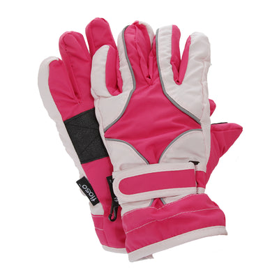 Pink - Front - FLOSO Childrens-Kids Girls Heavy Duty Waterproof Padded Thermal Ski-Winter Gloves
