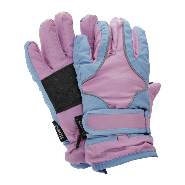 Blue - Front - FLOSO Childrens-Kids Girls Heavy Duty Waterproof Padded Thermal Ski-Winter Gloves