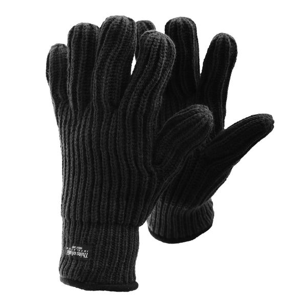 Black - Front - FLOSO Mens Ribbed Chunky Thinsulate Winter Thermal Gloves (3M 40g)