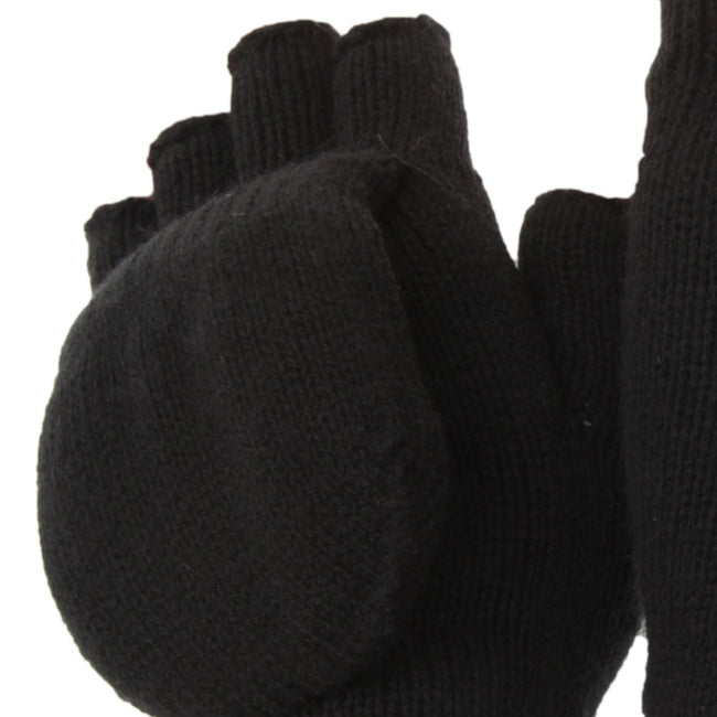 Black - Back - FLOSO Unisex Mens-Womens Thinsulate Thermal Capped Winter Fingerless Gloves (3M 40g)