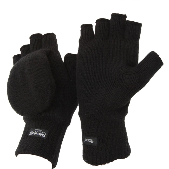 Black - Front - FLOSO Unisex Mens-Womens Thinsulate Thermal Capped Winter Fingerless Gloves (3M 40g)