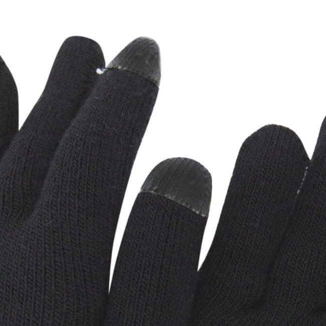Black - Back - FLOSO Mens IPhone-iPad Mobile Touch Screen Winter Magic Gloves
