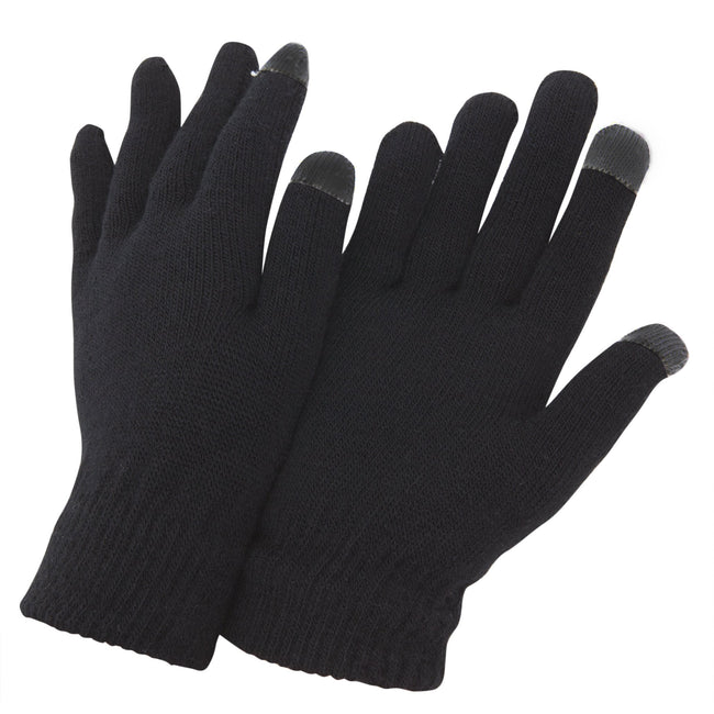 Black - Front - FLOSO Mens IPhone-iPad Mobile Touch Screen Winter Magic Gloves