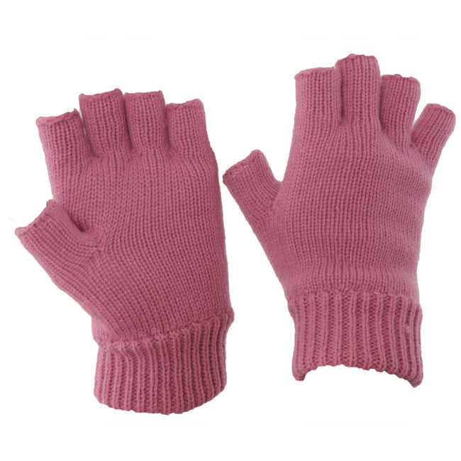 Pink - Front - FLOSO Ladies-Womens Thinsulate Thermal Fingerless Winter Gloves (3M 40g)