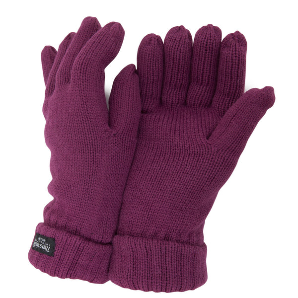 Raspberry - Front - FLOSO Ladies-Womens Thinsulate Winter Knitted Gloves (3M 40g)