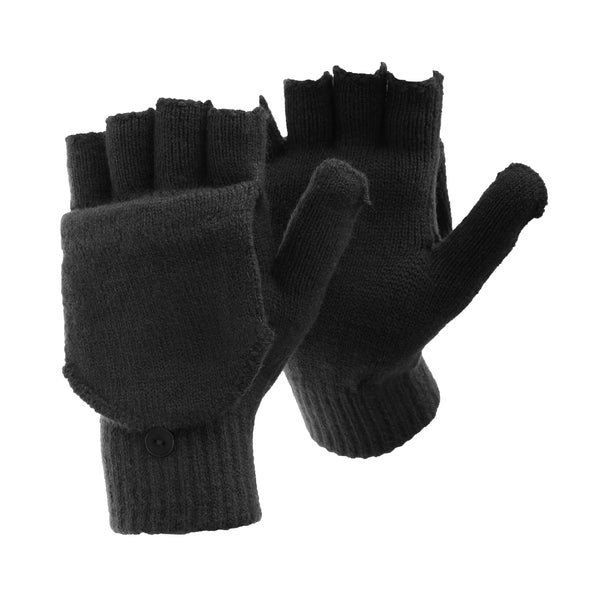 Charcoal - Front - FLOSO Mens Plain Thermal Winter Capped Fingerless Gloves