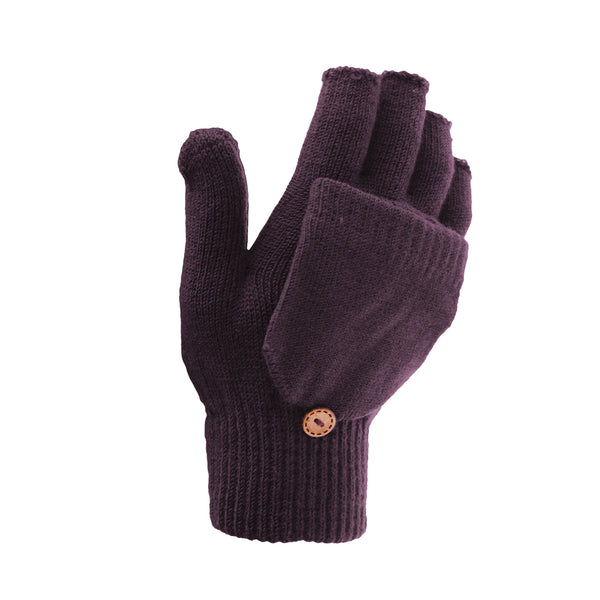 Black - Front - FLOSO Ladies-Womens Winter Capped Fingerless Magic Gloves