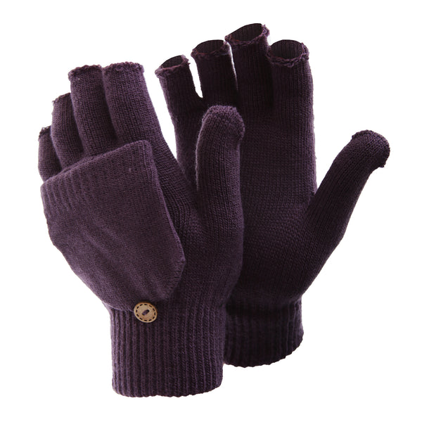 Purple - Front - FLOSO Ladies-Womens Winter Capped Fingerless Magic Gloves