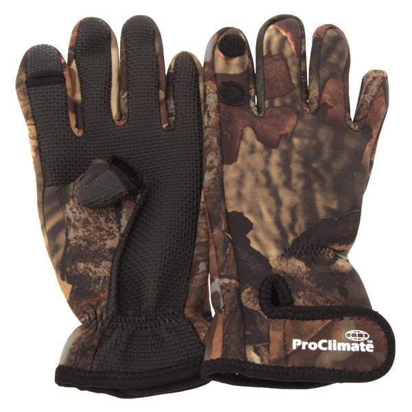 Camouflage - Front - Floso Mens Neoprene Premium Angling-Fishing Gloves