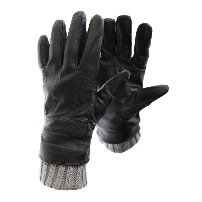 Black - Front - FLOSO Mens Sheepskin Leather Gloves With Knit Trim