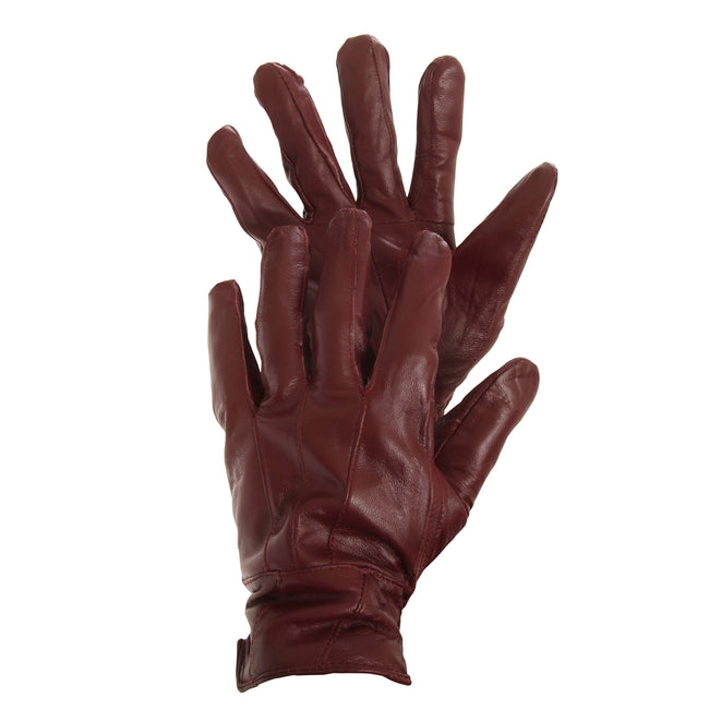 Maroon - Front - FLOSO Ladies-Womens Sheepskin Leather Gloves