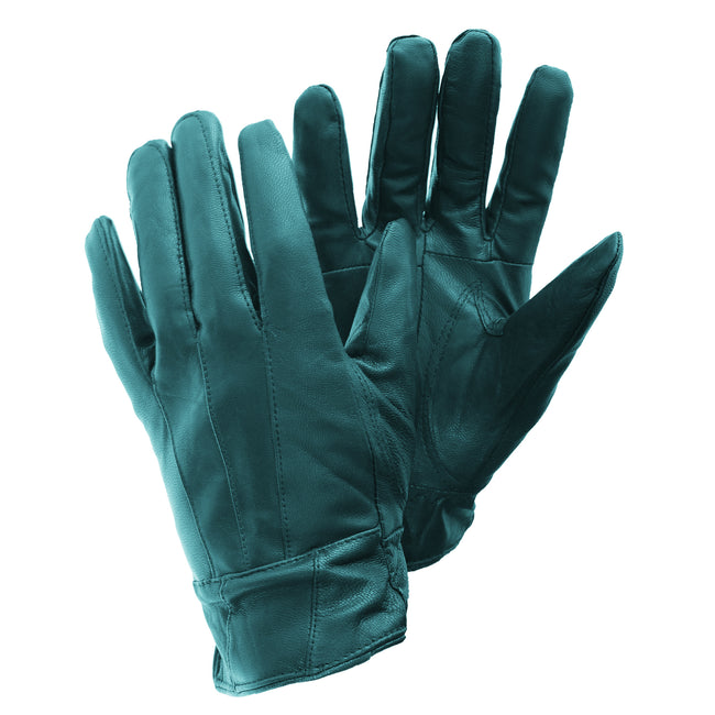 Teal - Front - FLOSO Ladies-Womens Sheepskin Leather Gloves