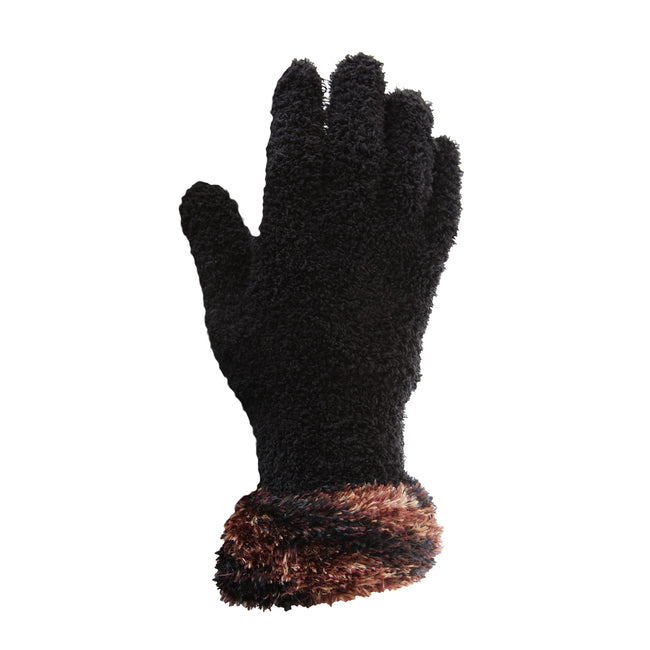 Black-Grey - Front - FLOSO Ladies-Womens Fluffy Extra Soft Winter Gloves With Patterned Cuff
