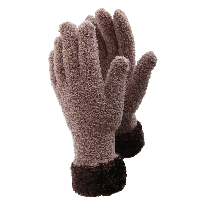 Grey-White - Front - FLOSO Ladies-Womens Fluffy Extra Soft Winter Gloves With Patterned Cuff