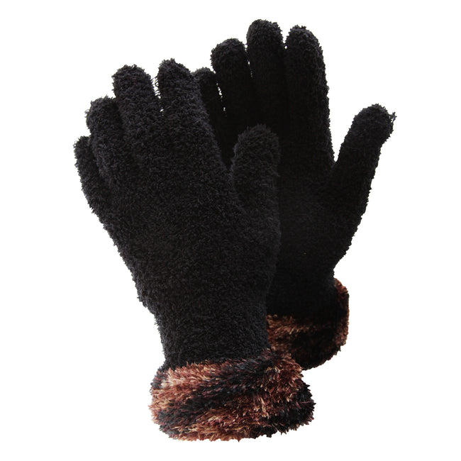 Black-Copper - Front - FLOSO Ladies-Womens Fluffy Extra Soft Winter Gloves With Patterned Cuff