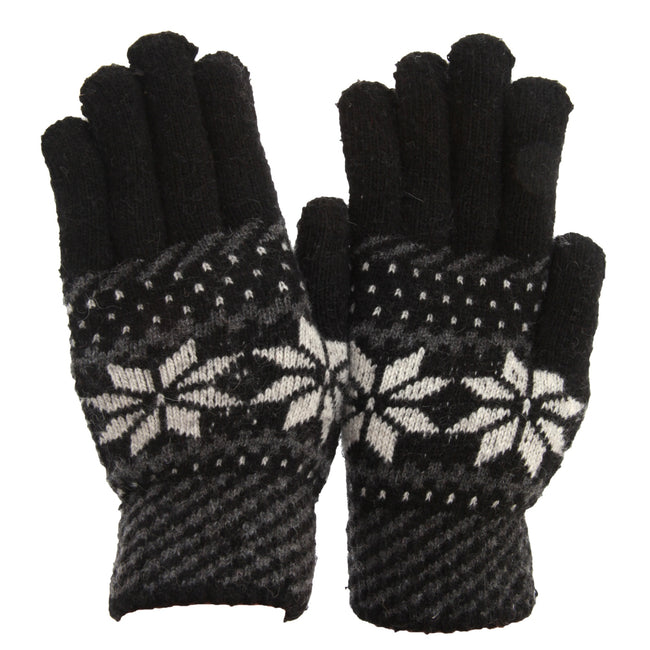 Black - Front - FLOSO Mens Knitted Fairilse Winter Gloves With Wool