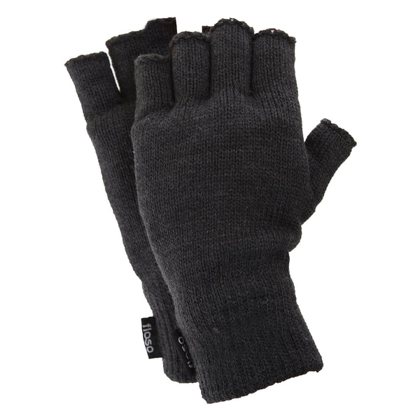 Charcoal - Front - FLOSO Mens Thinsulate Thermal Fingerless Gloves (3M 40g)