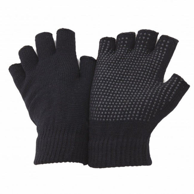 Black - Front - FLOSO Unisex Fingerless Magic Gloves With Grip
