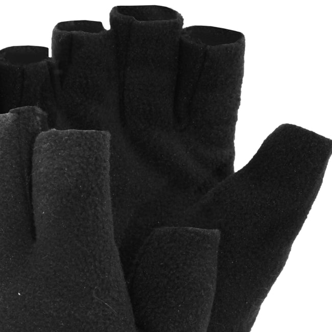 Black - Back - FLOSO Mens Fleece Fingerless Winter Gloves