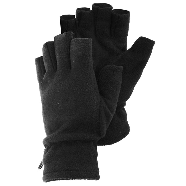 Black - Front - FLOSO Mens Fleece Fingerless Winter Gloves