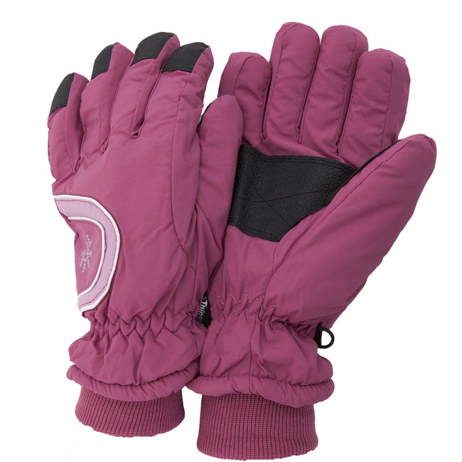 Pink - Front - Floso Ladies-Womens Thinsulate Extra Warm Thermal Padded Winter-Ski Gloves With Palm Grip (3M 40g)