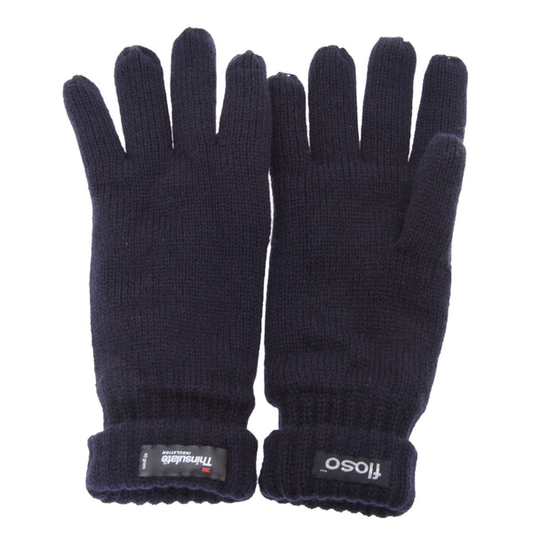 Navy - Back - FLOSO Mens Thinsulate Knitted Winter Gloves (3M 40g)