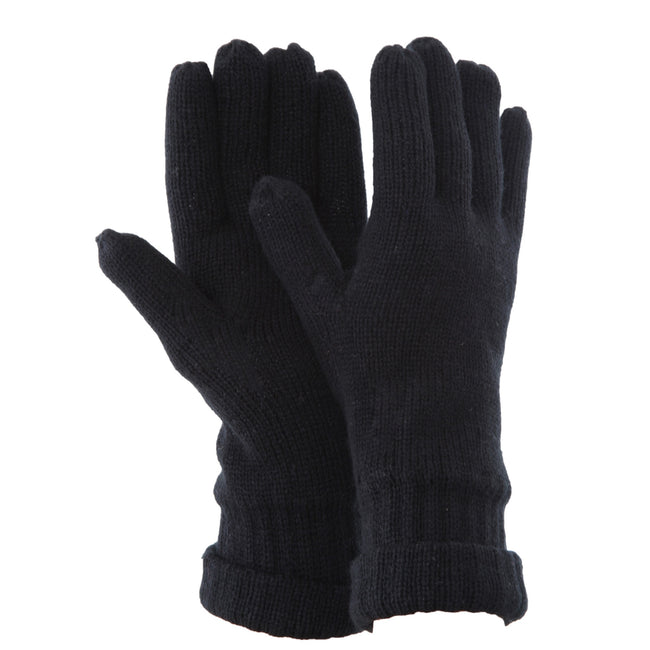 Black - Front - FLOSO Mens Thinsulate Knitted Winter Gloves (3M 40g)