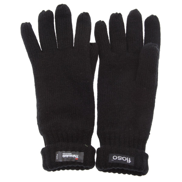 Black - Back - FLOSO Mens Thinsulate Knitted Winter Gloves (3M 40g)