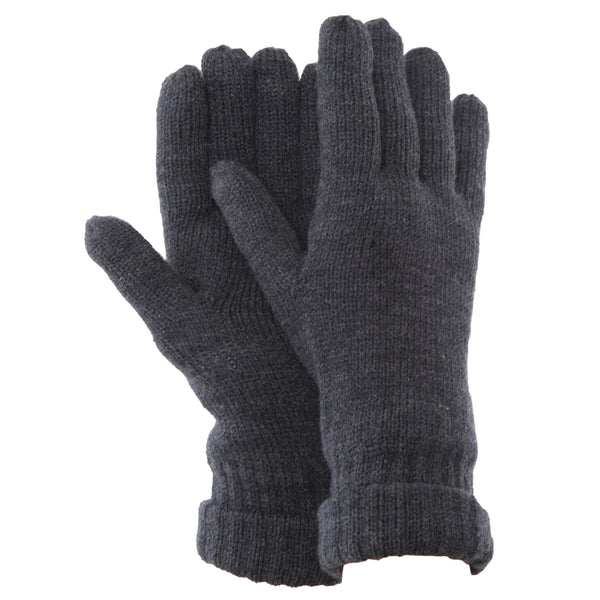 Grey - Back - FLOSO Mens Thinsulate Knitted Winter Gloves (3M 40g)