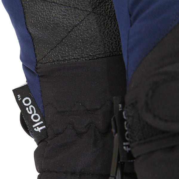 Navy-Black - Back - FLOSO Kids-Childrens Extra Warm Thermal Padded Ski Gloves With Palm Grip
