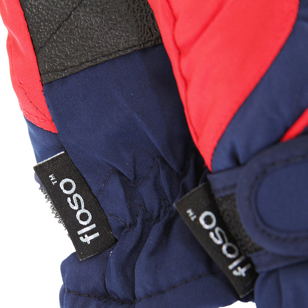 Navy-Red - Back - FLOSO Kids-Childrens Extra Warm Thermal Padded Ski Gloves With Palm Grip