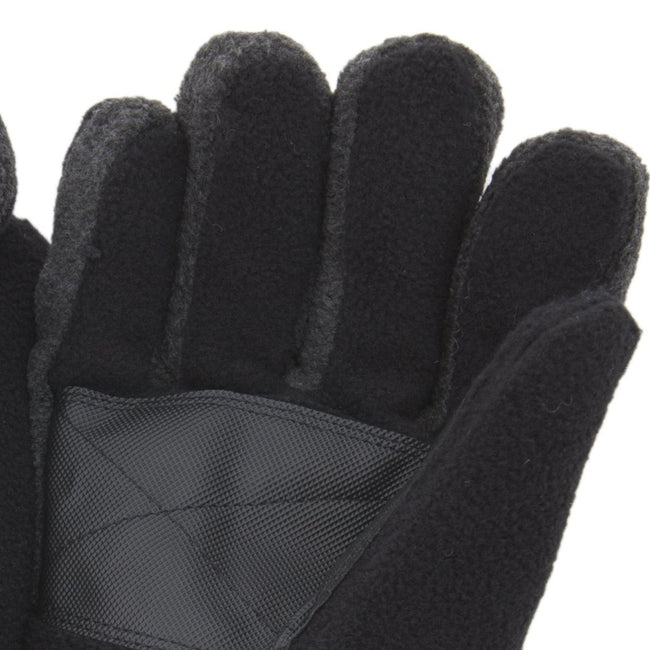 Black - Back - FLOSO Mens Heavy Ski Thinsulate Thermal Fleece Gloves With Palm Grip (3M 40g)