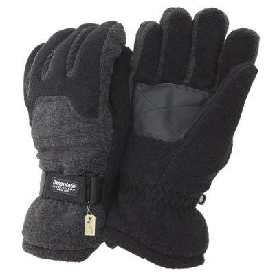 Black - Front - FLOSO Mens Heavy Ski Thinsulate Thermal Fleece Gloves With Palm Grip (3M 40g)