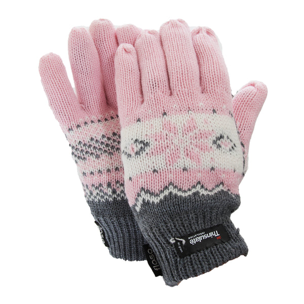 Pink - Front - FLOSO Ladies-Womens Thinsulate Fairisle Thermal Gloves (3M 40g)