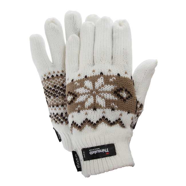 White - Front - FLOSO Ladies-Womens Thinsulate Fairisle Thermal Gloves (3M 40g)