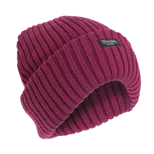 Plum - Front - FLOSO Ladies-Womens Chunky Knit Thermal Thinsulate Winter-Ski Hat (3M 40g)