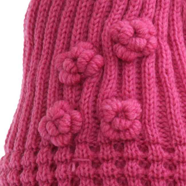 Beige - Front - FLOSO Ladies-Womens Winter Ribbed Beanie Hat With Floral Pattern