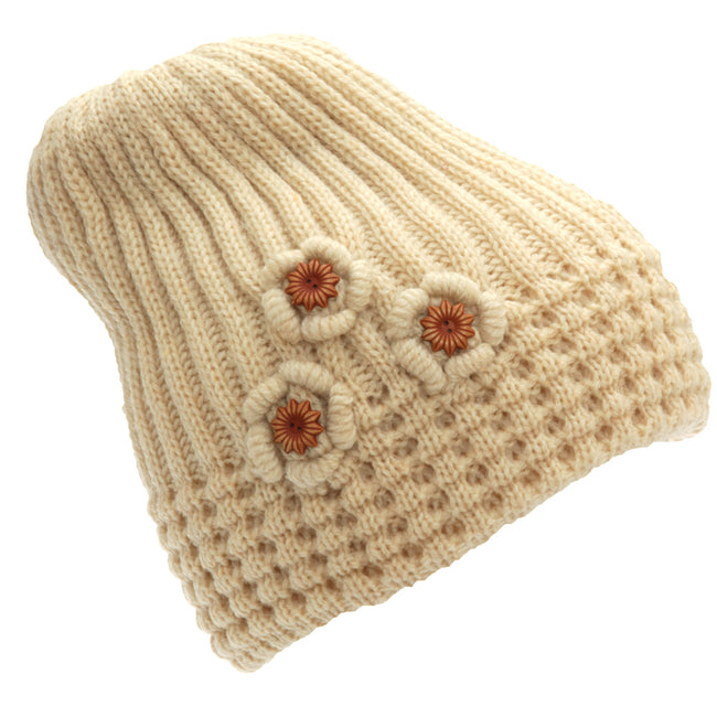 Grey - Front - FLOSO Ladies-Womens Winter Ribbed Beanie Hat With Floral Pattern