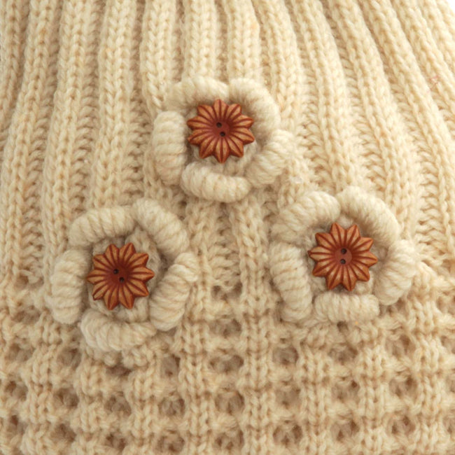Black - Front - FLOSO Ladies-Womens Winter Ribbed Beanie Hat With Floral Pattern