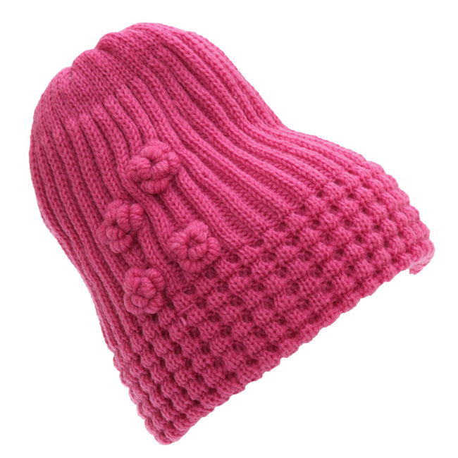 Pink - Front - FLOSO Ladies-Womens Winter Ribbed Beanie Hat With Floral Pattern