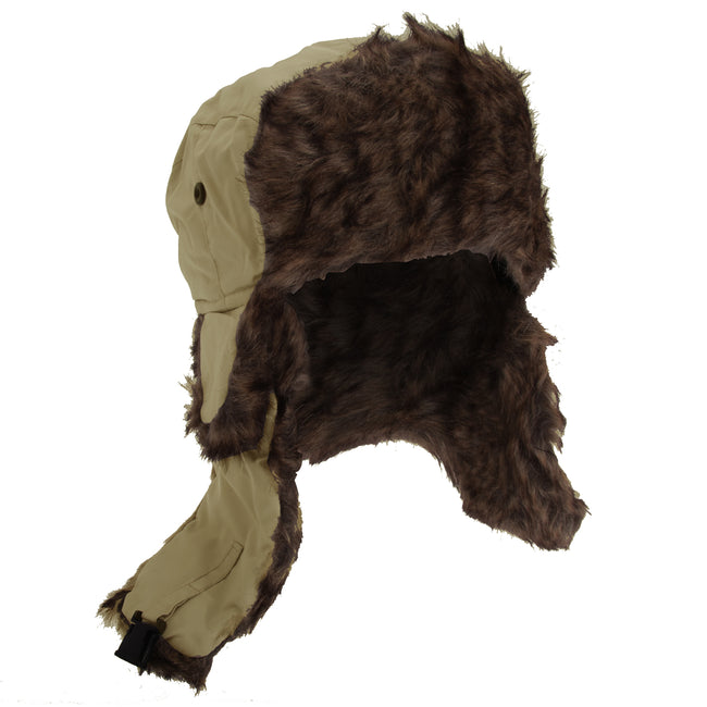Sand-Brown Fur - Front - FLOSO Mens Faux Fur Lined Showerproof Thermal Trapper Hat
