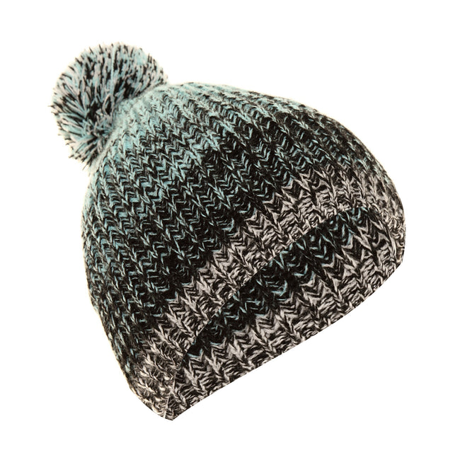 Aqua - Black - Back - FLOSO Mens - Womens Unisex Two-Tone Winter Bobble Beanie Hat