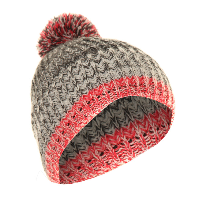 Pink-Grey - Back - FLOSO Mens - Womens Unisex Two-Tone Winter Bobble Beanie Hat