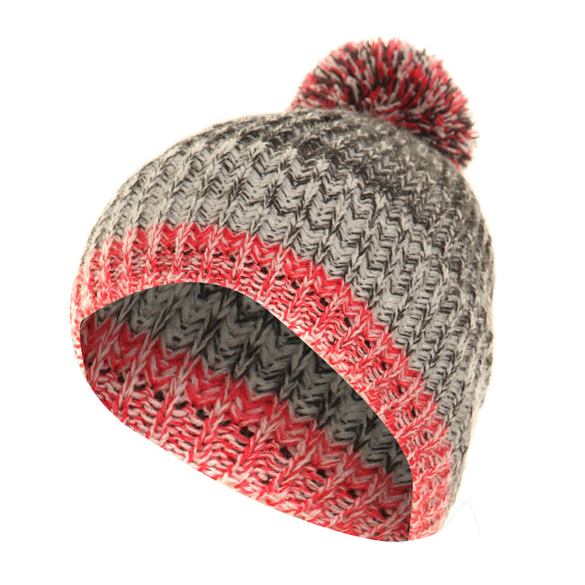 Pink-Grey - Front - FLOSO Mens - Womens Unisex Two-Tone Winter Bobble Beanie Hat