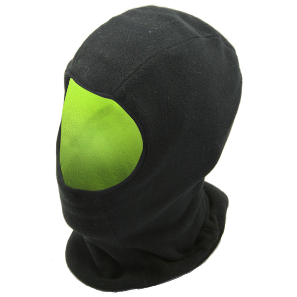 Black-Neon - Front - FLOSO Mens Reversible Fleece Thermal Balaclava (Black Front & Neon Back)