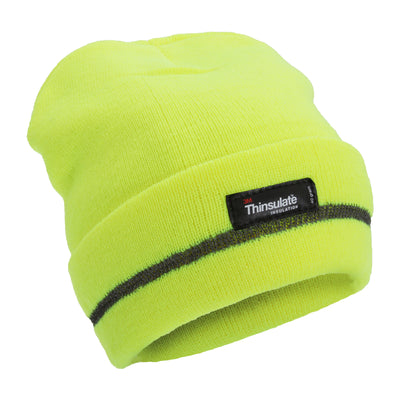 Neon Yellow - Front - FLOSO Unisex Hi Vis Thinsulate Thermal Knitted Beanie Hat (3M 40g)