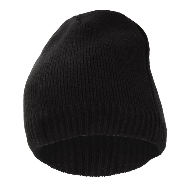 Black - Back - FLOSO Mens Plain Thinsulate Thermal Knitted Waterproof Winter Hat