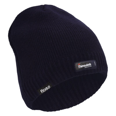 Olive - Front - FLOSO Mens Plain Thinsulate Thermal Knitted Waterproof Winter Hat