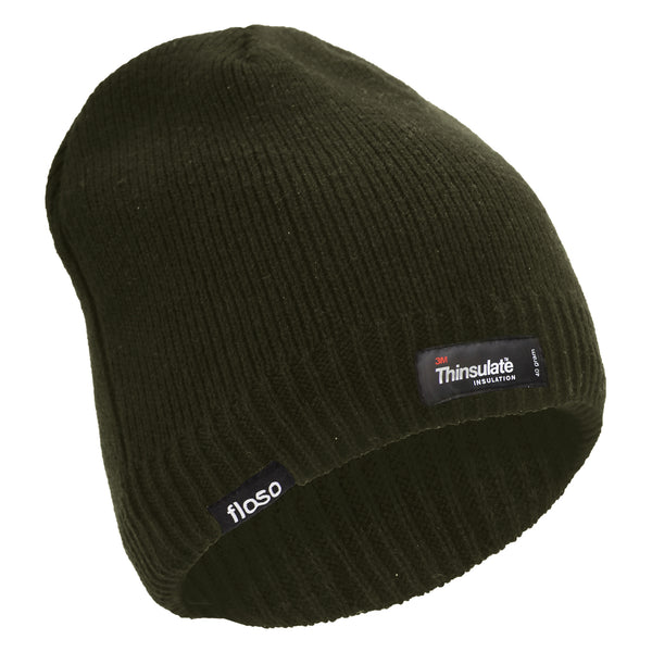 Olive - Back - FLOSO Mens Plain Thinsulate Thermal Knitted Waterproof Winter Hat