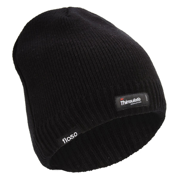 Black - Front - FLOSO Mens Plain Thinsulate Thermal Knitted Waterproof Winter Hat